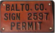 Baltimore County Sign Permit number 2597